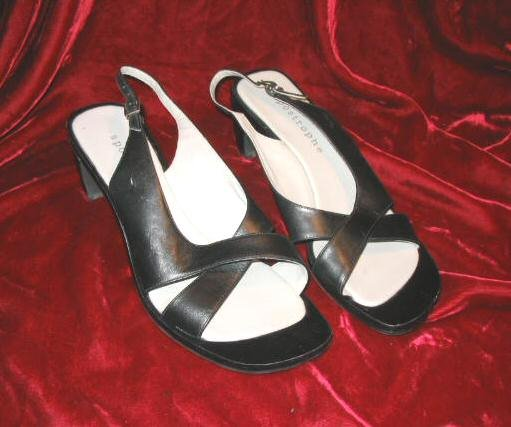 Ladys Apostrophe Black Leather Shoes Platform Heel 10 M