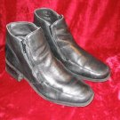 Apostrophe Black Leather Squ Toes Ankle Boots Shoes 7.5