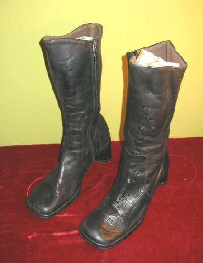 Nice Gama Studio Black Leather High Boots Italy Sz 7