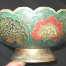 Vintage Solid Brass Pedestal Bowl Enamel India Pakistan