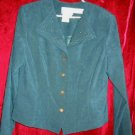 Karin Stevens Green Business Suit Jacket Skirt Dress 14