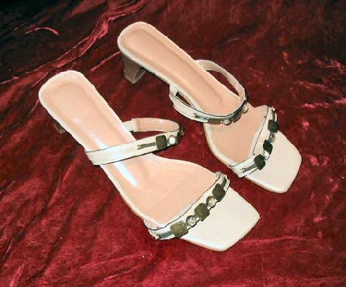 Nice Cream Leather Brass Sandals Shoes Slides 10 M