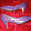 Salvatini Purple Leather Shoes Pump Heel 8.5