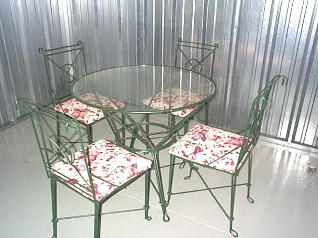 Green Wrought Iron Glasstop Dining Table 4 Chairs Set