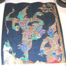 Nice Thai Silk Screen Art Print Oriental Asian Dancing