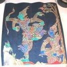 Nice Thai Silk Screen Art Print Oriental Asian Dancing