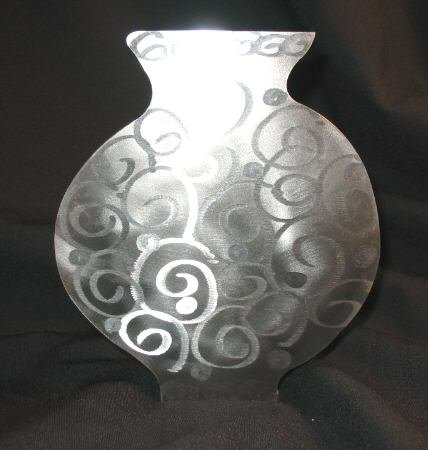 Hand Crafted Metal Vase Candle Holder Decor Signed