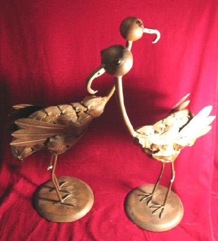 2 NEW Pier One 1 Copper Turkey Bird Halloween Sculpture