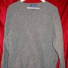 Mens Charter Club Room Gray V-Neck Wool Sweater Shirt L