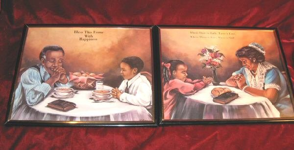2 Nice Framed  Praying Blessing Love Art Print African American