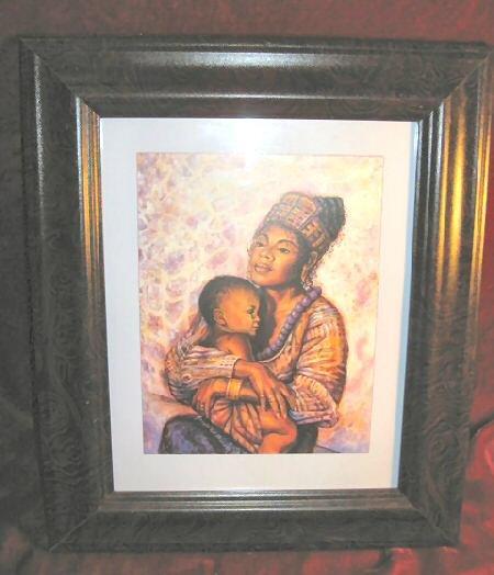 Framed  Art Print Mother Holding Baby African Family Love