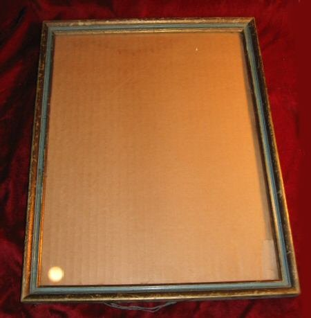 "Nice Vintage Gold Green Wooden Picture Frame 12""x15"""