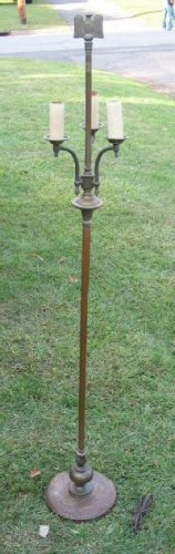 Original Antique  / Vintage Colonial Brass Floor Lamp 3-Arm Eagle
