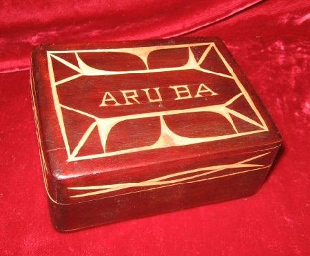 Wooden Hand Carved Trinket Jewelry Box Aruba