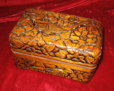 Wooden Hand Carved Trinket Jewelry Box Bird Flower Asia