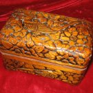 Wooden Hand Carved Trinket Jewelry Box Bird Flower Asia