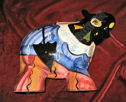 NEW Hand Painted Ceramic Art Elephant Turov Signed