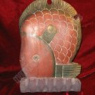 Solid Wooden Hand Carved Painted Fish Statue Sculpture