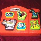 Set of 2 Vintage Pre School Toy Plastic Puzzles Amloid Play Farm