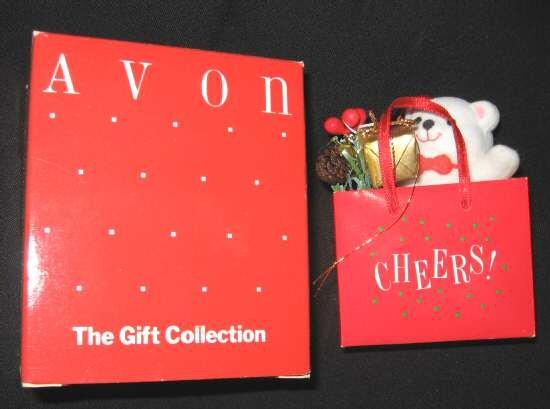 AVON Holiday Shopping Bag Teddy Bear Ornament Cheers