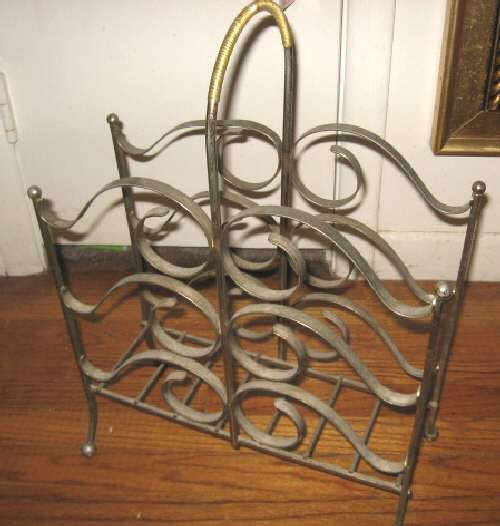Vintage Brass Magazine Newspaper Holder Rack Scrolled