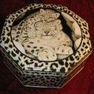 Collectible White Tiger Cub Prints Octagon Tin Box