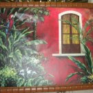 Frank Walcutt Red Balcony Painting Canvas Bamboo Frame 36x48