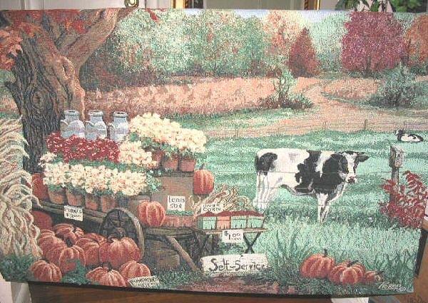 Picken Pumpkin Harvest Farm Wall Hanging Throw Tapestry