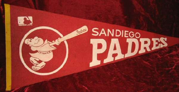 1969 San Diego Padres MLB Baseball Red Banner Pennant Flag
