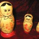 Set of 3 Nesting Wooden Figurine DollsRussian Semenov