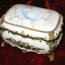Vintage Porcelain Brass Music Jewelry Box Sankyo Japan