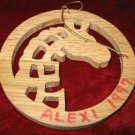 Wooden round Horse Giraffe Christmas Ornament