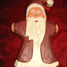 Wooden handpainted Santa Christmas Ornament 90's