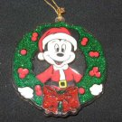 Glass Mickey Mouse Wreath Christmas Ornament