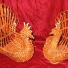 2 Vintage Wicker Turkey Napkin Holder Basket Thanksgiving