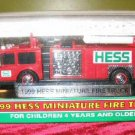 1999 HESS Toy Miniature Mini Fire Truck MINT NIB Red
