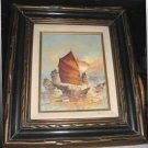 Vintage Hong Kong Macau Junk Boat Framed Oil Painting Kwok