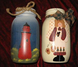 2 Crazy Mountain Hand Painted Glass Jar Candle Holder