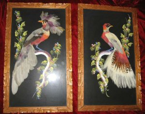 Vintage Mexican Feathercraft Painting Bird Art Picture Aztec