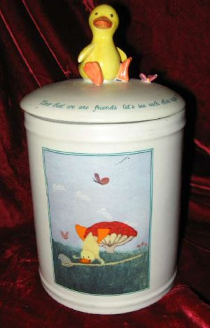 Russ Berrie Hand Painted Ceramic Cookie Jar Lid Duck