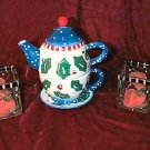 New Bella Casa Ganz Hand Painted Tea For One Set Bonus Christmas