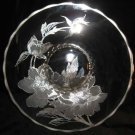 "14"" Silver City Glass Co Clear Plate Floral Decorative Tray"