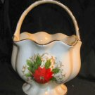 Essex Poinsettia Lace Porcelain Basket Floral Vase