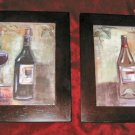 2 Tile Wall Decor Art Wine Glass Grapes Wooden Frame