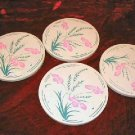 Set of 4 Vintage Clay Coasters Natural Cork Coaster Flowers