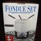 New Roshco White Porcelain Enamel Fondue Set