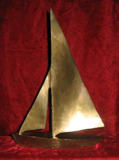 Vintage Solid Brass Sailboat Figure Statue Nautical Boat