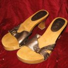 MIA Brown Wooden Leather Clogs Shoes Sandals Sz 7