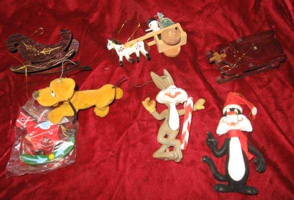 7pc Vintage Christmas Ornaments Pluto Bugs Bunny Sylvester the Cat