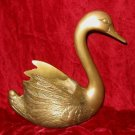 Vintage Collectible Brass Swan Figurine Planter Decor